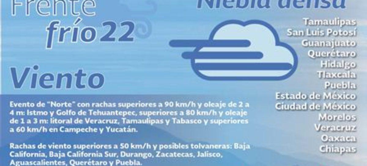 En Oaxaca, se mantiene alertamiento por Frente Frío 22: CEPCO