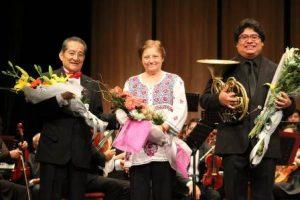 La compositora Patricia Moya Pérez y el cornista oaxaqueño Juan Alejandro Pérez Pérez.