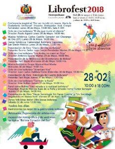 Programa de actividades de Bolivia en el Librofest Metropolitano 2018.