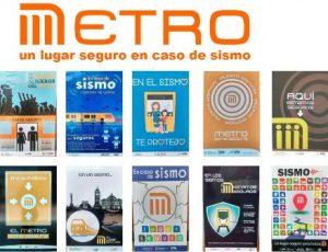 """""""El Metro, un lugar seguro en caso de sismo"""", realizada por alumnos de la UAM Azcapotzalco, en el Metro La Raza."""