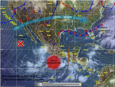 Lluvias de intensas a torrenciales en estados del sur del país por zona de baja presión en el Pacífico