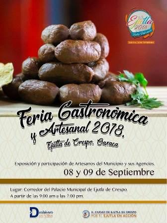Invitan a la Feria Gastronómica y Artesanal en Ejutla de Crespo, Oaxaca