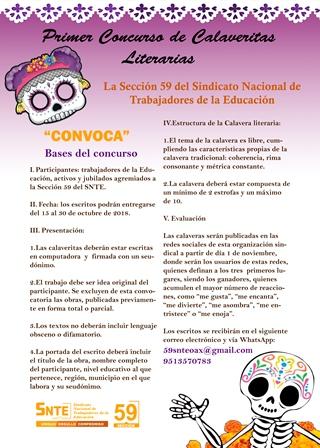Organiza Sección 59 del SNTE Primer Concurso de Calaveritas Literarias