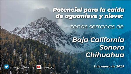 Ocasionará Sexta Tormenta Invernal nevadas y aguanieve en regiones de Baja California, Sonora y Chihuahua