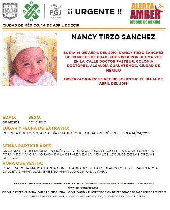 Se solicita apoyo para localizar a Nancy Tirzo Sánchez, de ocho meses de edad