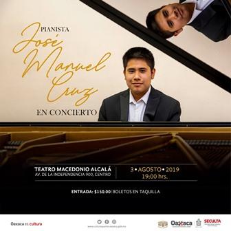 Impulsa Seculta concierto del joven pianista oaxaqueño, José Manuel Cruz