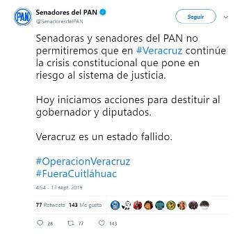 Analizan senadores del PAN desaparición de poderes en Veracruz y juicio político contra gobernador