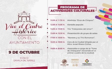 """Este miércoles 9 de octubre, """"Vive el Centro Histórico"""" de Oaxaca de Juárez"""