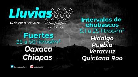 Se prevén lluvias puntuales fuertes en zonas de Chiapas, Oaxaca y Veracruz