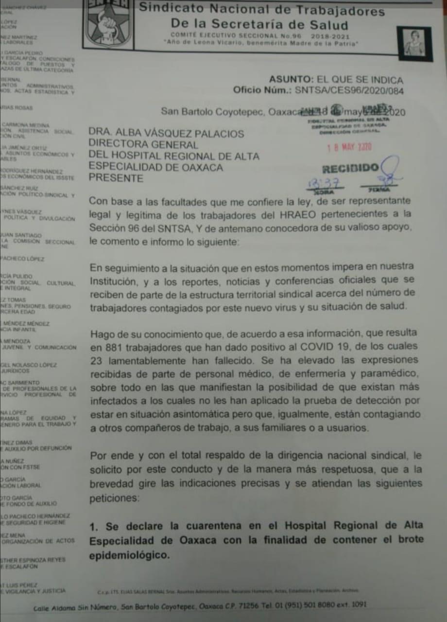 Por Covid-19, demandan se declare en cuarentena al Hospital de Alta Especialidad  de Oaxaca