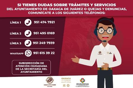 Atiende Ayuntamiento de Oaxaca 77 llamadas diarias en líneas telefónicas de Atención Ciudadana