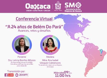 """Invitan a la conferencia virtual """"A 24 años de Belém do Pará: Avances, Retos y Desafíos"""""""