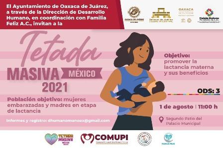 "Invita Ayuntamiento de Oaxaca a la ""Tetada Masiva México 2021"""