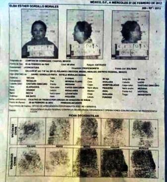 Ficha de Elba Esther Gordillo filtrada a la prensa