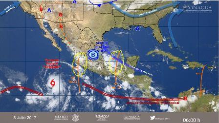 Paso de las ondas tropicales 11 y 12 continuarán provocando lluvias en el país