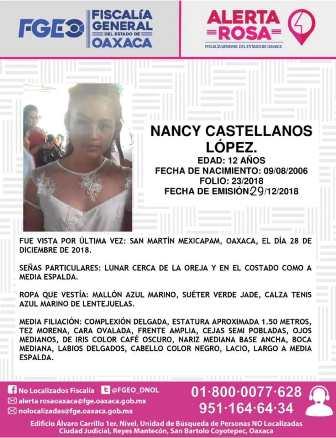 Emite Fiscalía de Oaxaca Alerta Rosa por desaparición de menor Nancy Castellanos López