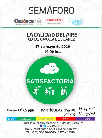 """""""Satisfactoria"""" la calidad del aire en zona metropolitana de Oaxaca: Semaedeso"""