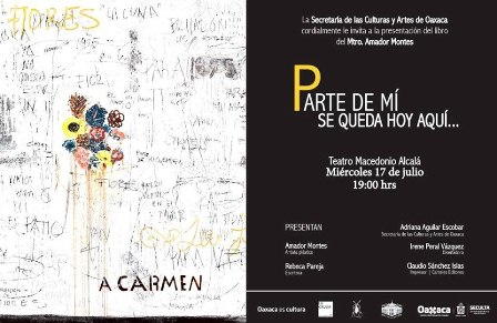 """Presentará artista plástico Amador Montes el libro """"Parte de mí se queda hoy aquí…"""""""